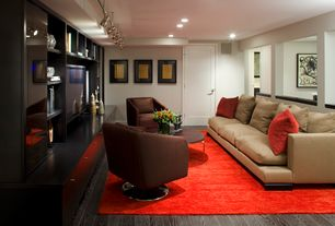 "Contemporary Basement with West elm - dunham down-filled sofa - toss back, pebble weave in burlap, 97"", flush light"