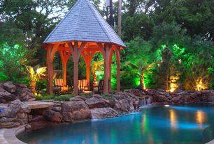 Tropical Swimming Pool with Pathway, Fountain, exterior stone floors, Gazebo
