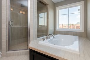 Modern Master Bathroom with frameless showerdoor, Rain shower, Master bathroom