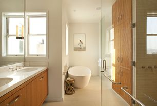 Contemporary Master Bathroom with Pentalquartz thassos bq100, Standard height, Master bathroom, travertine floors, can lights