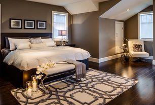 Contemporary Master Bedroom with flat door, Natalie bench, double-hung window, Paint, can lights, Paint 2, Hardwood floors