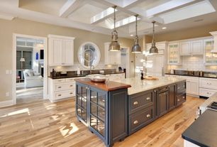 Traditional Kitchen with Custom hood, double dishwasher, Glass panel, Subway Tile, Built In Panel Ready Refrigerator, Flush