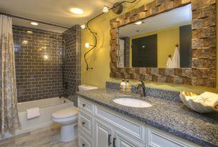 Traditional Full Bathroom with Flat panel cabinets, Handheld showerhead, Raised panel, Simple Granite, Hardwood floors