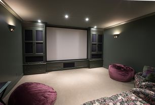 Country Home Theater with Built-in bookshelf, Carpet, Wall sconce, Crown molding