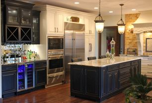 "Traditional Kitchen with Wine refrigerator, Paint 1, Oracle Tile & Stone Honey Onyx Subway 3""x6"" Marble Tile Premium Polished"