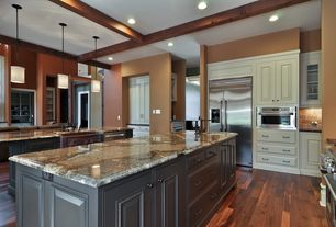 Traditional Kitchen with Marble countertops, Modern nickel mini-pendant light with white drum shade, Built In Refrigerator