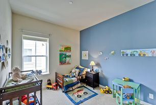Traditional Kids Bedroom with Built-in bookshelf, Standard height, double-hung window, Bunk beds, Carpet
