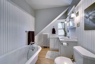 "Traditional Full Bathroom with drop-in sink, Freestanding, Crown molding, Wall sconce, Full Bath, 4"" x 4"" glossy white tile"