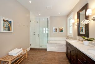 Traditional Master Bathroom with Double sink, Rain shower, Emser Alpine Porcelain Tile, Undermount sink, Wall sconce