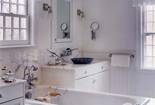 Cottage Full Bathroom with Complex Marble, Glass panel, Flush, Wall sconce, Complex marble counters, High ceiling