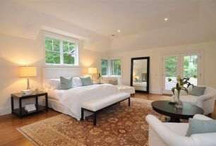 Traditional Master Bedroom with French doors, Hardwood floors, Chairs Tight Back Lounge  Chair, Uttermost Brynmore End Table