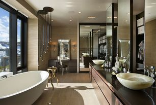 Master Bathroom with Saneux - dolce drop-in bathtub, Vessel sink, Double sink, Flush, European Cabinets, flush light