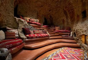 Eclectic Home Theater with Concrete tile , High ceiling, Milan red, terracotta, brown & off-white tribal aztec area rug