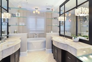 Traditional Master Bathroom with Shades of Light Uptown Bath Light, Moen 90 Degree Double Handle Widespread Bathroom Faucet
