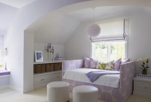 Traditional Guest Bedroom with bedroom reading light, Window seat, Built-in bookshelf, Carpet, Standard height, Pendant light