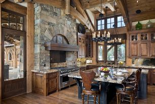 "Rustic Kitchen with Restoration Hardware Camino Round Chandelier 26"", Exposed beam, Chandelier, Transom window, Glass panel"