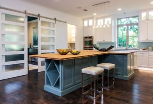 Contemporary Kitchen with Glass panel, Breakfast bar, Casement, Paint 2, Wood counters, Barn door, Pendant light, can lights