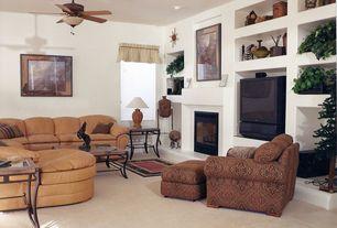 Country Living Room with Ceiling fan, Built-in bookshelf, Concrete tile , flush light