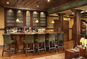 Traditional Bar with Pendant light, can lights, Chair rail, Hardwood floors, Standard height, Crown molding