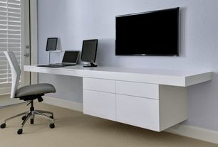 Modern Home Office with Carpet, Glass panel door