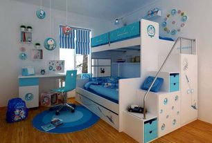 Contemporary Kids Bedroom with Crown molding, Paint, Paint 1, Built-in bookshelf, Container store - nova blue polo desk chair