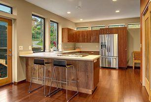 Contemporary Kitchen with Ikea glenn barstool, Undermount sink, Breakfast bar, Limestone, Flush, Dupont corian glacier white