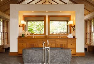 "Craftsman Master Bathroom with 60"" augustus chiseled stone tub, black granite, Double sink, High ceiling, Casement, Bathtub"