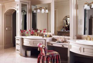 Traditional Master Bathroom with Flush, Kohler - devonshire widespread bathroom faucet, vibrant polished brass, Crown molding