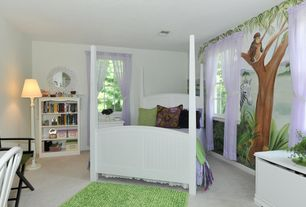 Contemporary Kids Bedroom with Mural, Carpet
