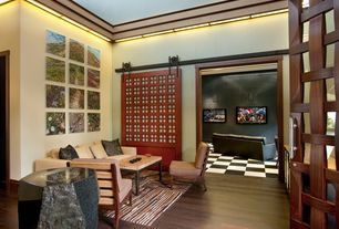 Asian Entryway with Ceiling molding, Tall zen shoji sliding door kit, Area rug, Paint, Checkerboard floor, Leather sofa