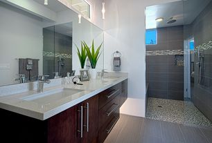 Contemporary Master Bathroom with Flush, stone tile floors, full backsplash, Master bathroom, Rain shower, Simple Granite
