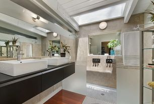 Contemporary Master Bathroom with Vessel sink, Rain shower, Hardwood floors, Wall sconce, Double sink, Soapstone counters