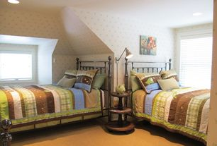 Cottage Kids Bedroom with Tradewinds Quilt, interior wallpaper, 20TH C. LIBRARY SINGLE SCONCE, Carpet, Lakehouse Bed