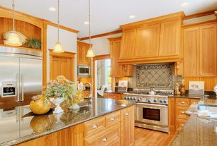 Traditional Kitchen with Standard height, Multiple Sinks, Ms international - autumn harmony, Stone Tile, Flat panel cabinets