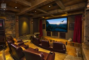 "Country Home Theater with travertine tile floors, Velvet window theater curtain drape 84"" by maifa, Exposed beam"