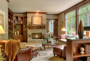Traditional Living Room with can lights, stone fireplace, picture window, six panel door, Crown molding, Standard height