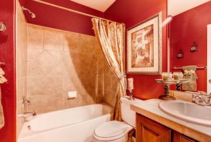 Traditional Full Bathroom with tiled wall showerbath, travertine tile counters, Raised panel, Stone Tile