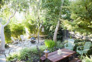 Cottage Landscape/Yard with Fire pit, exterior stone floors, Fence, Flagstone pavers, Ms international flagstone buffalo grey