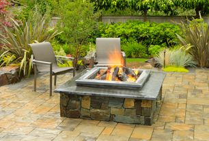 Craftsman Landscape/Yard with Fence, stone fireplace, Christopher knight home corporal natural stone square fire pit