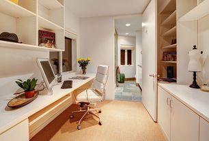 Contemporary Home Office with Standard height, Carpet, Built-in bookshelf, flat door