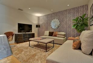 Contemporary Living Room with interior wallpaper, can lights, Erias home designs zamore mirror, Hardwood floors, Shag rug