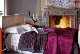 Eclectic Guest Bedroom with Wainscotting, Carpet, Fireplace, stone fireplace, Standard height