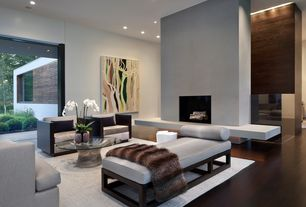 Contemporary Living Room with Tailored Sofa, Wire base coffee table, Hardwood floors, Modern armchair, High ceiling