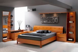 Modern Master Bedroom with Built-in bookshelf, Concrete floors