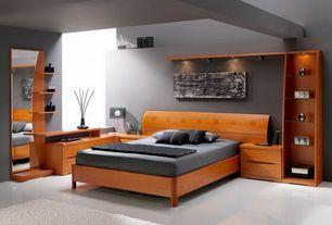Modern Master Bedroom with Standard height, Built-in bookshelf, can lights, Concrete floors