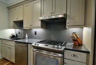Modern Kitchen with Flat panel cabinets, Granite Solid Surface Countertop in Deep Nocturne, One-wall, Soapstone counters