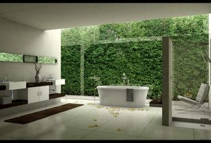Modern Master Bathroom with Barcelona chair, Freestanding, Flush, Scarabeo rectangular white ceramic wall mounted sink