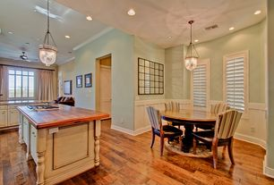 Country Kitchen with electric cooktop, Casement, can lights, Raised panel, High ceiling, Framed Partial Panel, Wood counters