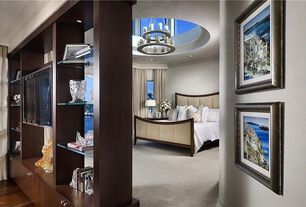 Contemporary Master Bedroom with Seagull Lighting Eighteen light chandelier, Chandelier, Skylight, Built-in bookshelf, Carpet