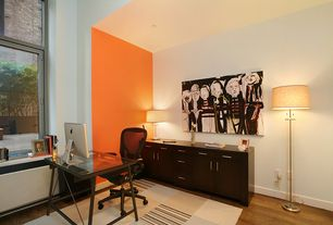 Contemporary Home Office with Hardwood floors, Casement, picture window, Standard height, can lights